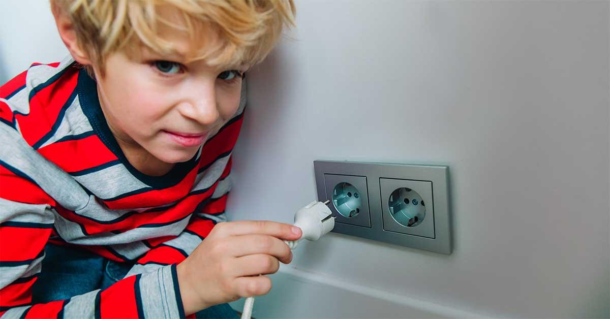 kid with a plug