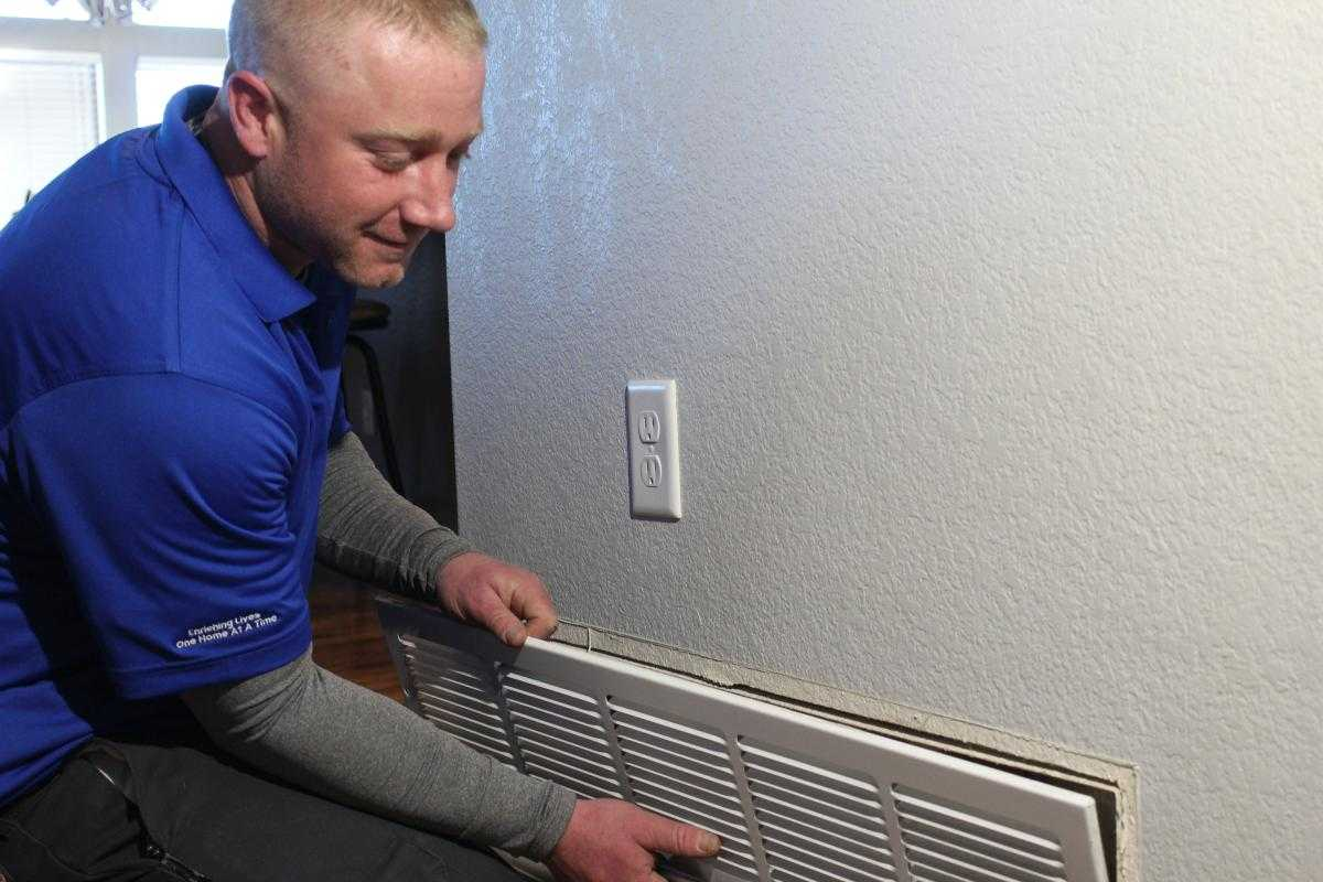 Air Duct Cleaning being Performed by a WireNut Home Services Technician